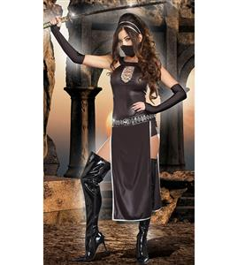 Fierce Black Ninja Costume, Sexy Samurai Costume, Ninja Assassin Costume, #N8720