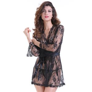 Sexy Robe, Soft Chiffon Nightgown, Silk Lightweight Sleepwear Robe, Sexy Sleepwear Bathrobe, See-through Mesh Bathrobe Nightgown, Flare Sleeve Bathrobe, See-through Chiffon Nightgown for Women, #N18847