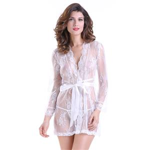 Sexy Robe, Soft Chiffon Nightgown, Silk Lightweight Sleepwear Robe, Sexy Sleepwear Bathrobe, See-through Mesh Bathrobe Nightgown, Flare Sleeve Bathrobe, See-through Chiffon Nightgown for Women, #N18848