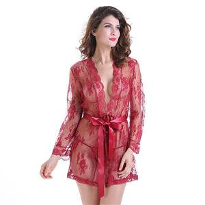 Sexy Robe, Soft Chiffon Nightgown, Silk Lightweight Sleepwear Robe, Sexy Sleepwear Bathrobe, See-through Mesh Bathrobe Nightgown, Flare Sleeve Bathrobe, See-through Chiffon Nightgown for Women, #N18849