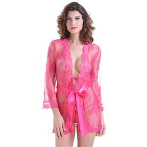 Sexy Robe, Soft Chiffon Nightgown, Silk Lightweight Sleepwear Robe, Sexy Sleepwear Bathrobe, See-through Mesh Bathrobe Nightgown, Flare Sleeve Bathrobe, See-through Chiffon Nightgown for Women, #N18850