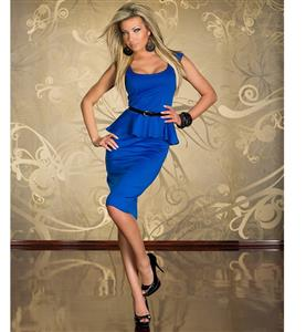 Blue OL Career Peplums, Knee Length Peplum Office Wear,  Blue Low Neckline Prom Dress, #N8677