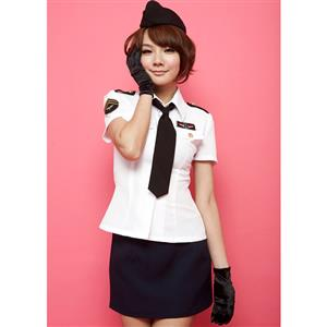 Air Hostess Stewardess Costume, Black and White Stewardess Costume, Flight Attendant Costume, #N8463