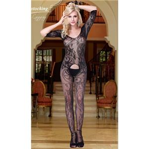 Sexy Elbow Sleeves Bodystocking, Black Vines Print Bodystocking, Cheap Black Bodystocking, #BS10746