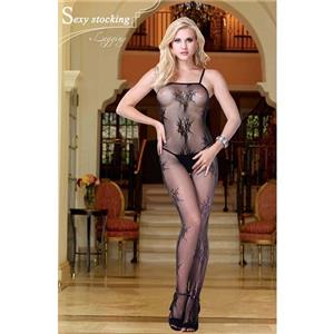 Sexy Spaghetti Straps Bodystocking, Flirty Plant Print Bodystocking, Cheap Black Bodystocking, #BS10747