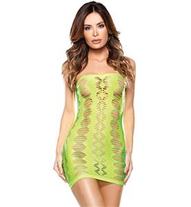 Flirty Green Fishnet Chemise Tube Dress N11248