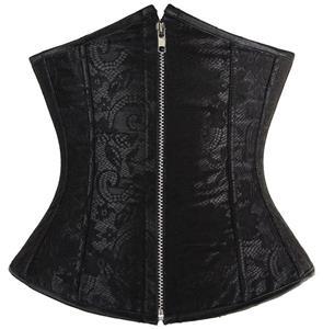 Floral Lace Underbust Corset, Black Lace Underbust Corset, Lace Cupless Corset, #N8394