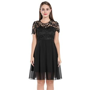 Sexy See-through Lace Swing Dress, Vintage Sleeveless Cut-away Shoulders Cocktail Party Dress, Fashion Casual Office Lady Dress, Sexy Tea Party Dress, Retro Party Dresses for Women 1960, Vintage Dresses 1950