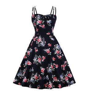 Lovely Floral Print Dress, Floral Print Cocktail Party Dress, Fashion Casual Office Lady Dress, Sexy Swing Dress, Plus Size Dress, Sexy OL Dress, Cocktail Party Dresses for Women, Sexy Spaghetti Straps Dress for Women, #N20270