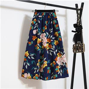 Fashion Long A-Line Skirt, Sexy High Waist Flared Skirt for Women, Fashion Floral Print Flared Long Skirt, Casual Flower Print A-Line Skirt, Retro Casual Printed A-Line Skirts, #N21048