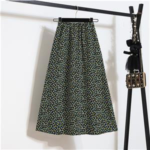Fashion Long A-Line Skirt, Sexy High Waist Flared Skirt for Women, Fashion Floral Print Flared Long Skirt, Casual Flower Print A-Line Skirt, Retro Casual Printed A-Line Skirts, #N21049