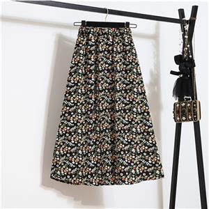 Fashion Long A-Line Skirt, Sexy High Waist Flared Skirt for Women, Fashion Floral Print Flared Long Skirt, Casual Flower Print A-Line Skirt, Retro Casual Printed A-Line Skirts, #N21050
