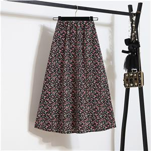Fashion Long A-Line Skirt, Sexy High Waist Flared Skirt for Women, Fashion Floral Print Flared Long Skirt, Casual Flower Print A-Line Skirt, Retro Casual Printed A-Line Skirts, #N21051
