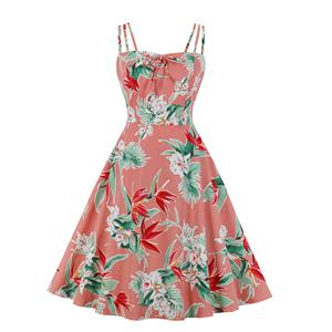 Lovely Floral Print Dress, Floral Print Cocktail Party Dress, Fashion Casual Office Lady Dress, Sexy Swing Dress, Plus Size Dress, Sexy OL Dress, Cocktail Party Dresses for Women, Sexy Spaghetti Straps Dress for Women, #N20272