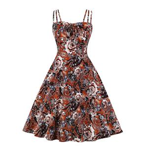 Lovely Floral Print Dress, Floral Print Cocktail Party Dress, Fashion Casual Office Lady Dress, Sexy Swing Dress, Plus Size Dress, Sexy OL Dress, Cocktail Party Dresses for Women, Sexy Spaghetti Straps Dress for Women, #N20273