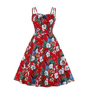 Lovely Floral Print Dress, Floral Print Cocktail Party Dress, Fashion Casual Office Lady Dress, Sexy Swing Dress, Plus Size Dress, Sexy OL Dress, Cocktail Party Dresses for Women, Sexy Spaghetti Straps Dress for Women, #N20274