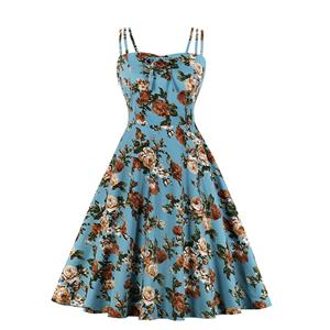Lovely Floral Print Dress, Floral Print Cocktail Party Dress, Fashion Casual Office Lady Dress, Sexy Swing Dress, Plus Size Dress, Sexy OL Dress, Cocktail Party Dresses for Women, Sexy Spaghetti Straps Dress for Women, #N20275