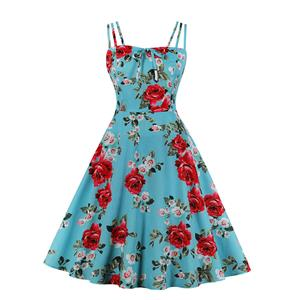 Lovely Floral Print Dress, Floral Print Cocktail Party Dress, Fashion Casual Office Lady Dress, Sexy Swing Dress, Plus Size Dress, Sexy OL Dress, Cocktail Party Dresses for Women, Sexy Spaghetti Straps Dress for Women, #N20277