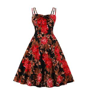 Lovely Floral Print Dress, Floral Print Cocktail Party Dress, Fashion Casual Office Lady Dress, Sexy Swing Dress, Plus Size Dress, Sexy OL Dress, Cocktail Party Dresses for Women, Sexy Spaghetti Straps Dress for Women, #N20278