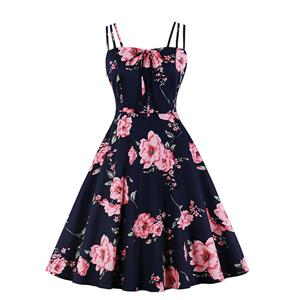 Lovely Floral Print Dress, Floral Print Cocktail Party Dress, Fashion Casual Office Lady Dress, Sexy Swing Dress, Plus Size Dress, Sexy OL Dress, Cocktail Party Dresses for Women, Sexy Spaghetti Straps Dress for Women, #N20279