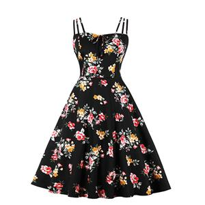 Lovely Floral Print Dress, Floral Print Cocktail Party Dress, Fashion Casual Office Lady Dress, Sexy Swing Dress, Plus Size Dress, Sexy OL Dress, Cocktail Party Dresses for Women, Sexy Spaghetti Straps Dress for Women, #N20280
