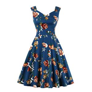 Vintage Floral Pattern Sweetheart Bodice Wide Shoulder Straps Cocktail Tea Party Swing Dress N20124