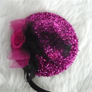 Flower Flannel mini Top Hat, Sequin Rose Mini Top Hat, Mini Top Hat, #J7341