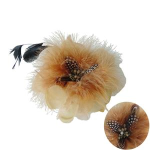 Apricot Accessory, Flower Hair Bow Clips Brooch Feather, Flower Hat Hair Clip Brooch Pin, #J7403