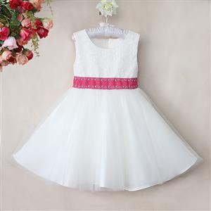 Rhinestone Rose Belt Pure Dress, Sleeveless Flower Lace Princess Dress, Tulle and Lace Party Dress, #N9115