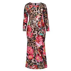 Long Sleeve Dresses for Women, V Neck Maxi Dress, Plus Size Maxi Dress, Flower Leopard Print Maxi Dress, Slim Fit Maxi Dress, V Neck Fashion Maxi Dresses, #N15752