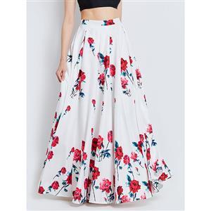 Sexy Skirt for Women, Sexy White Skirt,  Floor-Length Skirt, White Sexy Skirts, Floral Print White Skirt, Women Skirts White, High-Waist Skirts, #N15790