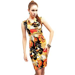 Cowl Collar Pencil Midi Dress, Flower Printed Bodycon Dress, Elegant Flower Casual Dress, #N8684