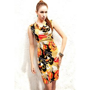 Cowl Collar Pencil Midi Dress, Flower Printed Bodycon Dress, Elegant Flower Casual Dress, #N8684