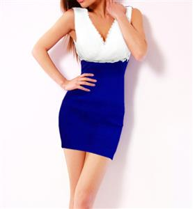 Flower and Rhinestone Stretch Bodycon Dress, Sleeveless V-Neck Color Block Package Hip Dress, Blue and White Cocktail Evening Mini Dress, #N9085