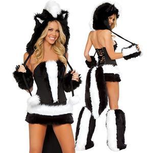 Sexy Skunk Costume, Sexy Skunk Halloween Costume, Adult Skunk Costume, Skunk Flower Costume, #N4660