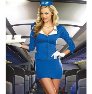 Fly Me Costume, Royal Blue Stewardess Costume, Stewardess Costume, #N5075
