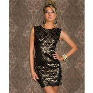 Black Shining Square Mini Dress, Sleeveless Round Neck Dress, Hot Stamping Deep V Back Cocktail Dress, #N8782