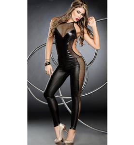 Foxy Black Fishnet Jumpsuit N10331