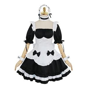 Traditional House Maid Costume, French Maide Costume, 2 Piece Maiden Cosplay Costume, Black and White Maid Costume, Halloween Maid Cosplay Adult Costume, Medieval Pastoral Outfit, #N21186