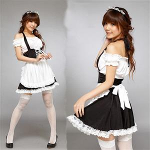 Maid Costume Halter Costume, French Maid Costume, Off Shoulder Maid Costume, #M8450