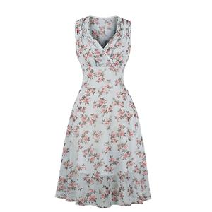 Fresh Summertime Floral Printed A-line Swing Dress, Retro Dresses for Women 1960, Vintage Dresses 1950
