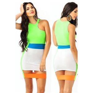 Colorful Bodycon Party Dress, Sexy Sleeveless Club Dresses, Mini Celebrity Party Dress, Cut Out Wrap Dress, Sexy Clubwear Bodycon Dress, #N9251