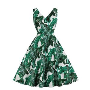 Fresh Women Green Leaf V Neck Sleeveless High Waist Midi A-Line Dress N19145