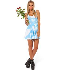 Blue Sky Skater Dress, Sleevele Clouds Pleated Dress, Blue Sky Reversible Mini Dress, #N8765
