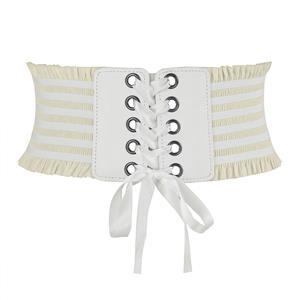 Tied Wasit Belt, High Waist Corset Cinch Belt, Steampunk Wasit Belt, Waist Cincher Belt White, Lace Up Wide Waistband Cinch Belt, Elastic Waist Belt, #N14803