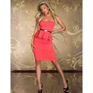 Knee Length Evening Peplum Dress, Off-the-shoulder Hot-pink Peplum Midi Dress, Wrap Chest Halter Cocktail Dress, #N8680