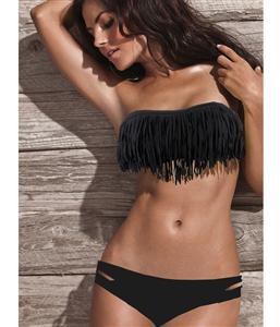 Fringe Swimwear, Fringe Black Bathing Suit, Fringe Black Bikini, #BK5431