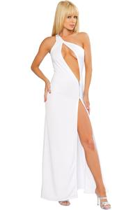 One Shoulder Cutout Gown with Zipper Detail, One Shoulder Gown, Cut Out Gown, #N3272
