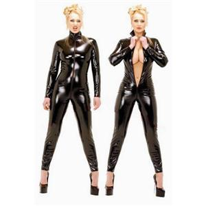 Leather jumpsuit, Front Ziper Leather Lingerie, Leather Lingerie, #M882