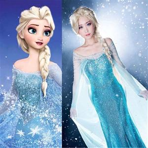 Inspired Princess Elsa Dress, Frozen Elsa Adult Dress, Disney Movies Frozen Snow Queen Elsa Costume, Frozen Princess Elsa Cosplay Costume, #N9189